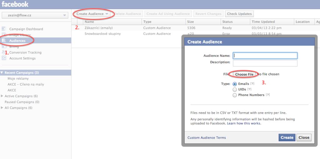 Vytvoření vlastního publika z emailových adres (Facebook reklamy)