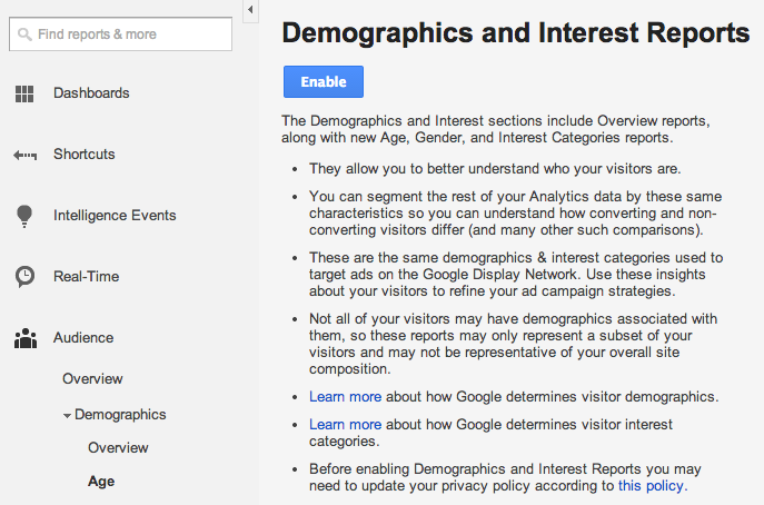 aktivujeme report demografie v google analytics