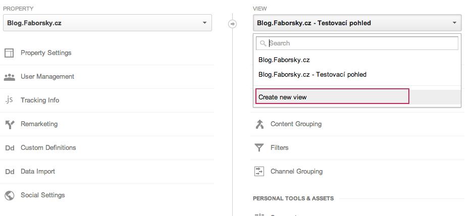 Přidání nového pohledu v google analytics
