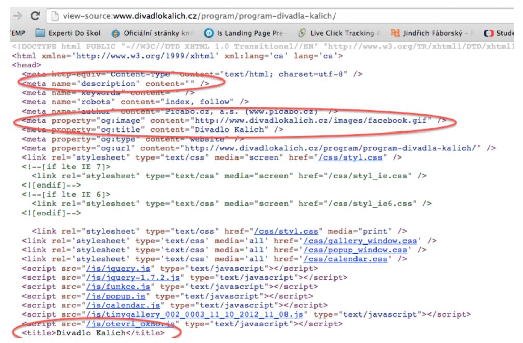Zdrojový kód a META informace webové stránky Divadla Kalich